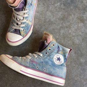 High top lace denim cons